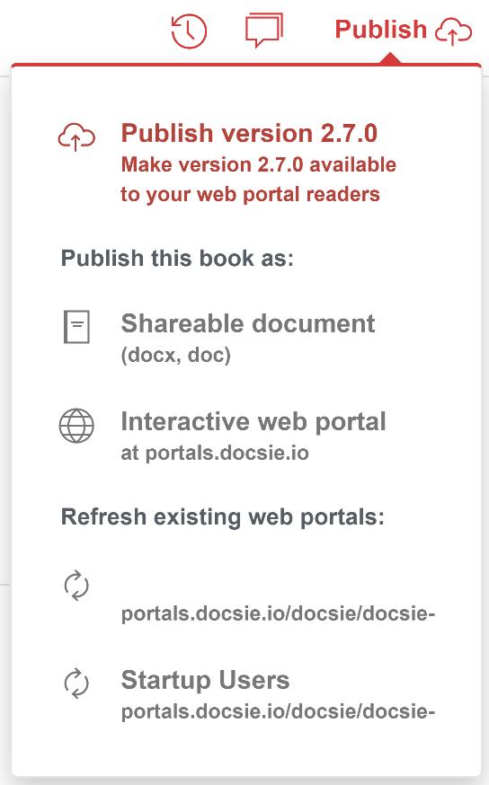 Publish Books and Shelves context menu in Docsie