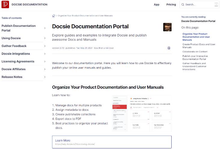 A live view of a Docsie Portal